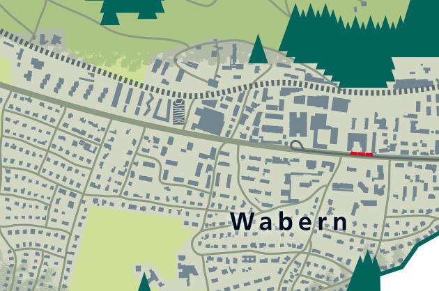 Der Green Tower in Wabern und die Endstation vom «Nünitram» mit der Schleife
