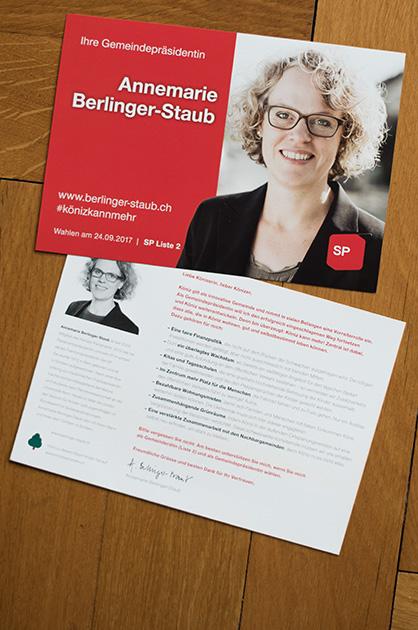 Postkarte A5 für die Kampagne von Annemarie Berlinger-Staub, Vor- und Rückseite