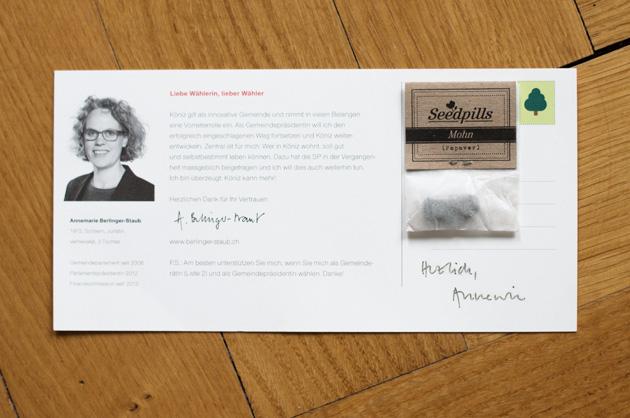 Postkarte A6/5 für Annemarie Berlinger-Staub, Ansicht der Rückseite mit angehefteter Seedpill
