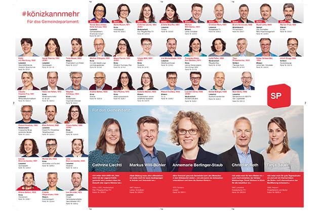 Wahlprospekt der SP Köniz 2017, Layout der Seite mit den Kandidatinnen und Kandidaten