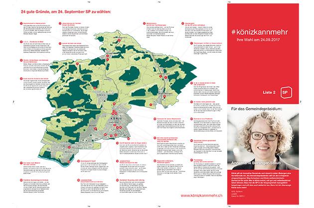 Wahlprospekt der SP Köniz 2017, Layout der Seite mit dem Ortsplan und dem Inserat von Annemarie
