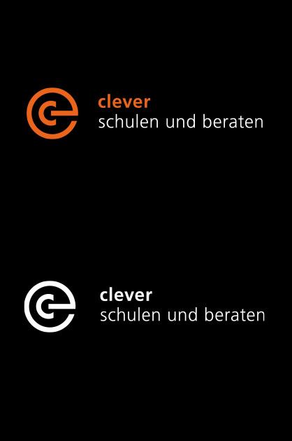 Des Fertige Logo von clever schulen und beraten in negativer Anwendung