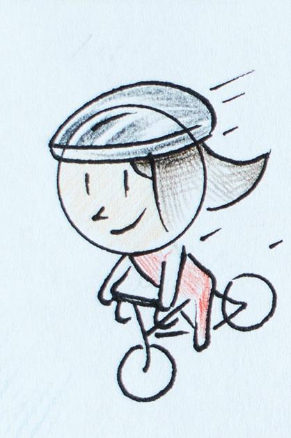 Illustration KiTa. Fahrrad fahrende Frau mit Helm
