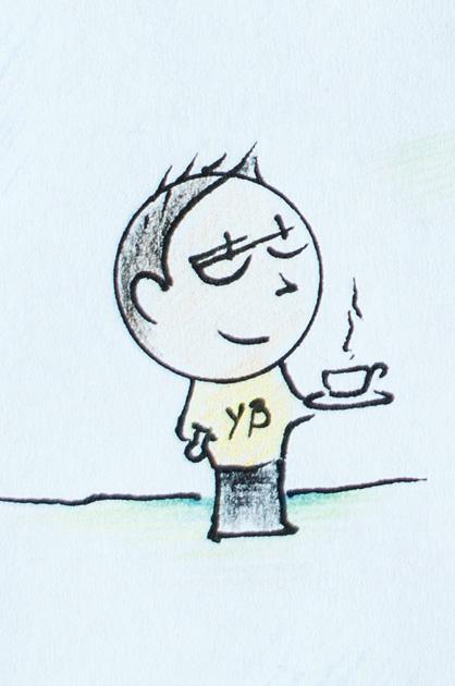 Illustration KiTa. Pate mit YB-Shirt und einer Tasse heissem Kaffee