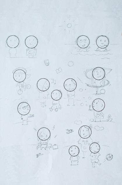KiTa Illustration. Bleistift-Skizze aller Familienmitglieder, die Köpfe sind bereits gezeichnet – mit schwarzem Filzer und einer Kreisschablone