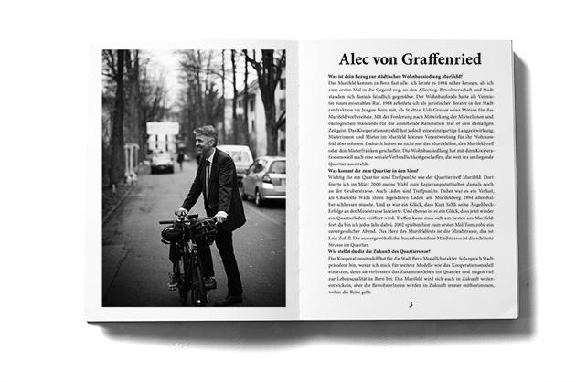 Murifeldbuch, Auszug einer Doppelseite aus dem Teil mit den Buchbeiträgen. Berner Stadtpräsident auf dem Velo.