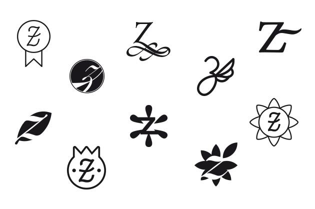 Logo Zeremonia, weitere Entwürfe in Schwarz-Weiss mit anderen Ansätzen