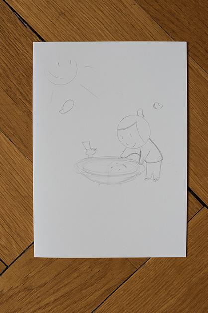 Eine Taufkarte für Mira – erste Skizze, gezeichnet mit einem Bleistift