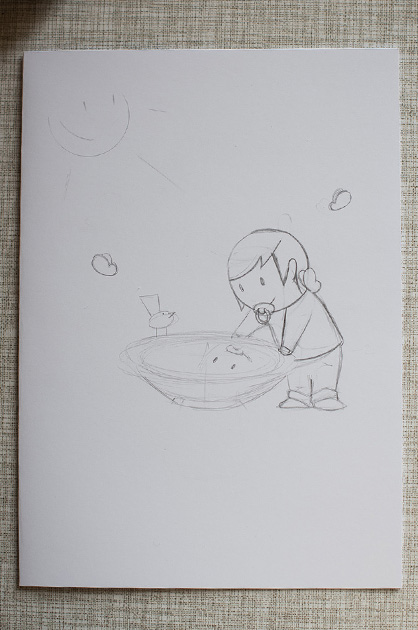 Eine Taufkarte für Mira – eine weitere Bleistiftskizze mit sichtbaren Ohren