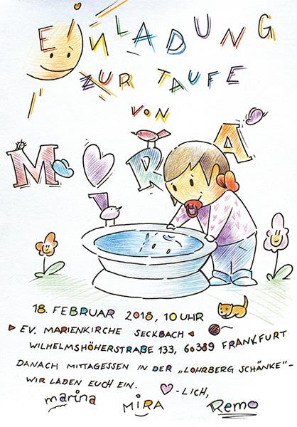 Taufkarte Mira, Reinversion mit Farbe