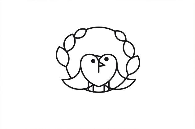 Grafische Illustration für eine Hochzeitskarte mit zwei Vögeln, die ein Herz bilden.