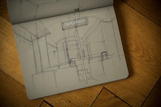 Zeichnen während dem Reisen. Zug-Interieur mit Kugelschreiber und Weiss-Stift