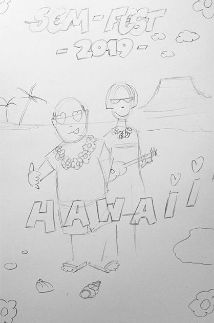 Illustration SEM-Fest 2019, Bleistiftskizze mit Beamtenpaar am Strand vor einem Vulkan