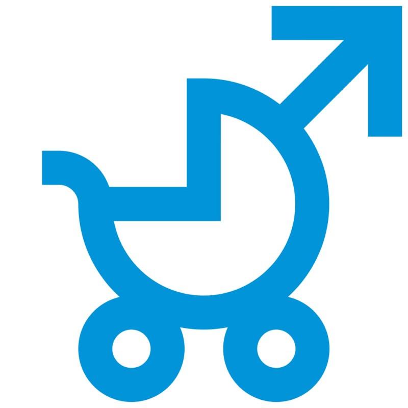 Grafik, Logo-Design für die Initiative Vaterschaftsurlaub jetzt. Kinderwagen mit Mars-Symbol.