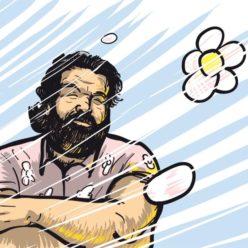 Digitale Porträtzeichnung von Bud Spencer, bzw. von Carlo Pedersoli in einem seiner legendären Hawaii-Hemden. Ruhe in Frieden Carlo.