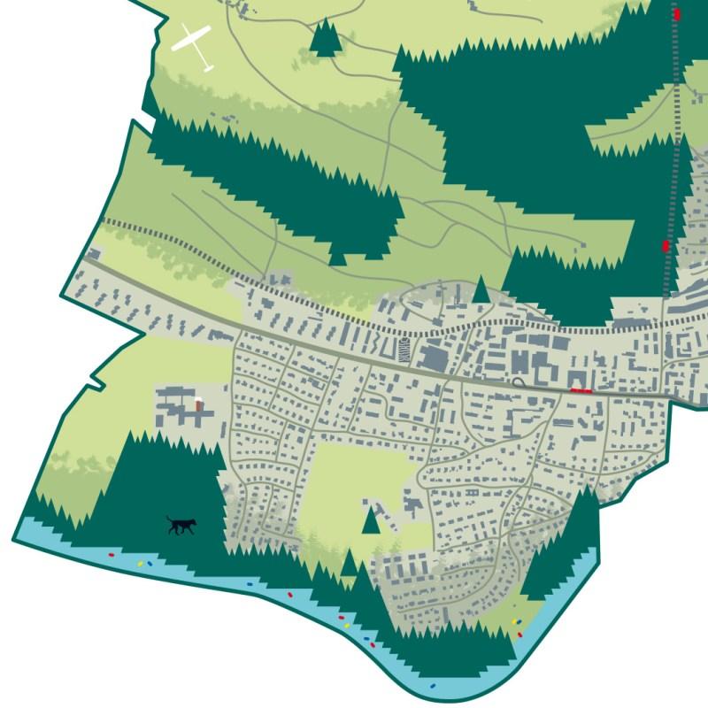 Illustration Ortsplan der Gemeinde Köniz für die SP-Köniz. Kartendetail mit Fokus auf die Aare und das Eichholz in Wabern.