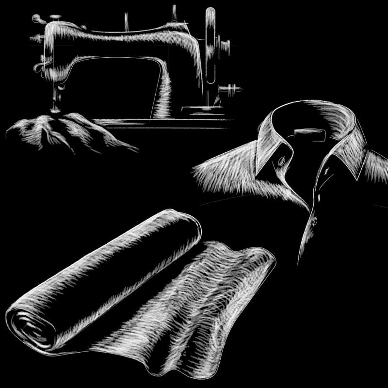 Digitale Illustration für die Manor-Marke JJBenson. Textilien auf Schieferplatte.