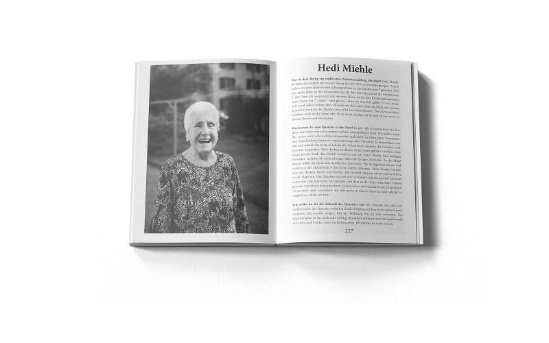 Grafik, Murifeldbuch – Innenseite mit einem Portrait der Rentnerin Hedi Miehle