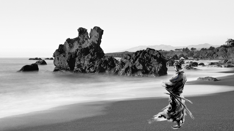 samurai en la playa