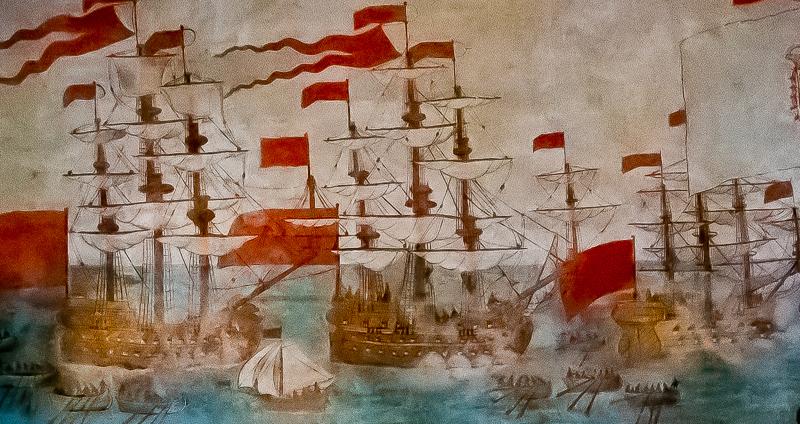 Detalle del mural que recuerda la Batalla de La Gomera contra la armada inglesa. (Foto de Manuel Mora Morales).