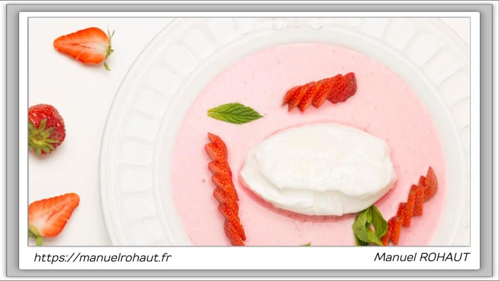 Recette healthy, saine, rapide et gourmande Beautysané© : île flottante aux fraises
