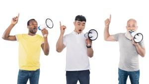 three men using megaphone speakers