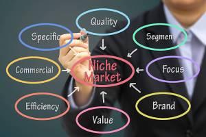 niche market diagram man holding a pen