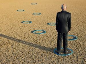 man standing inside a circle