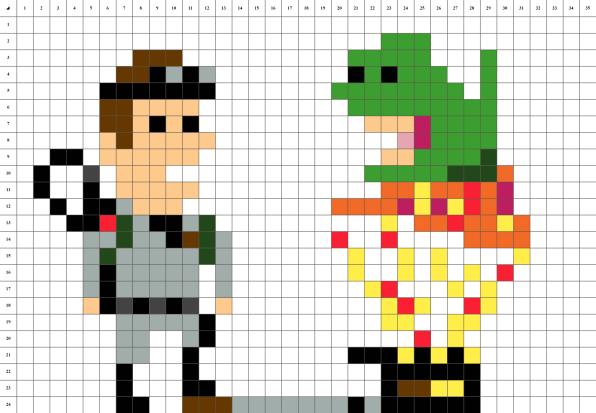 Ghostbusters pixel art mosaique grille fond blanc