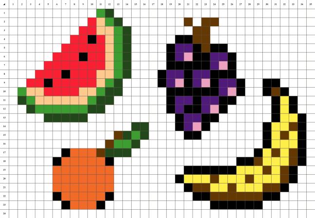 Salade de fruits pixel art mosaique grille fond blanc