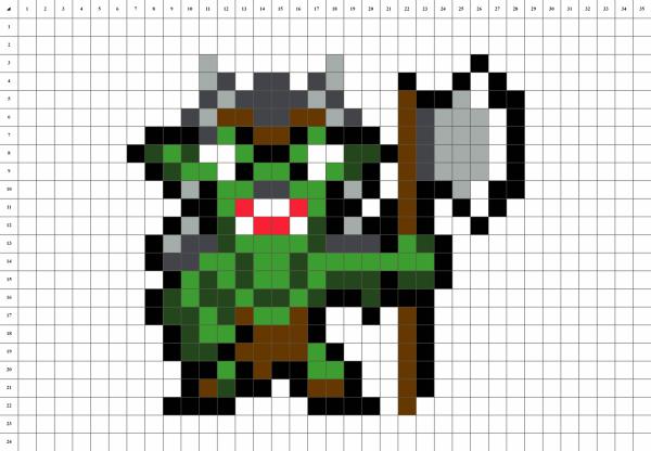 Orc pixel art mosaique grille fond blanc