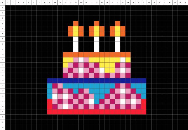 Gateau d'anniversaire pixel art mosaique grille fond noir