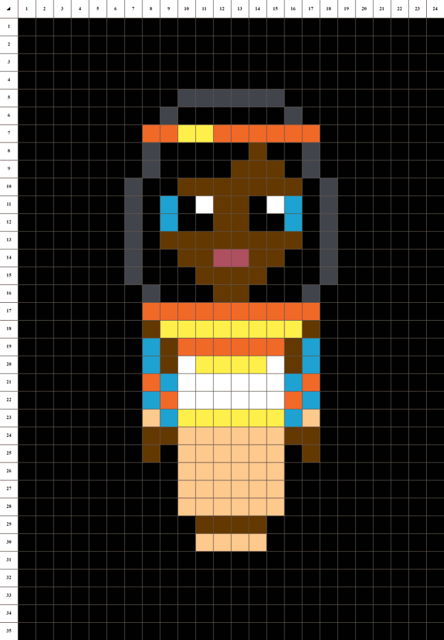 Cleopatre reine d'egypte pixel art grille fond noir