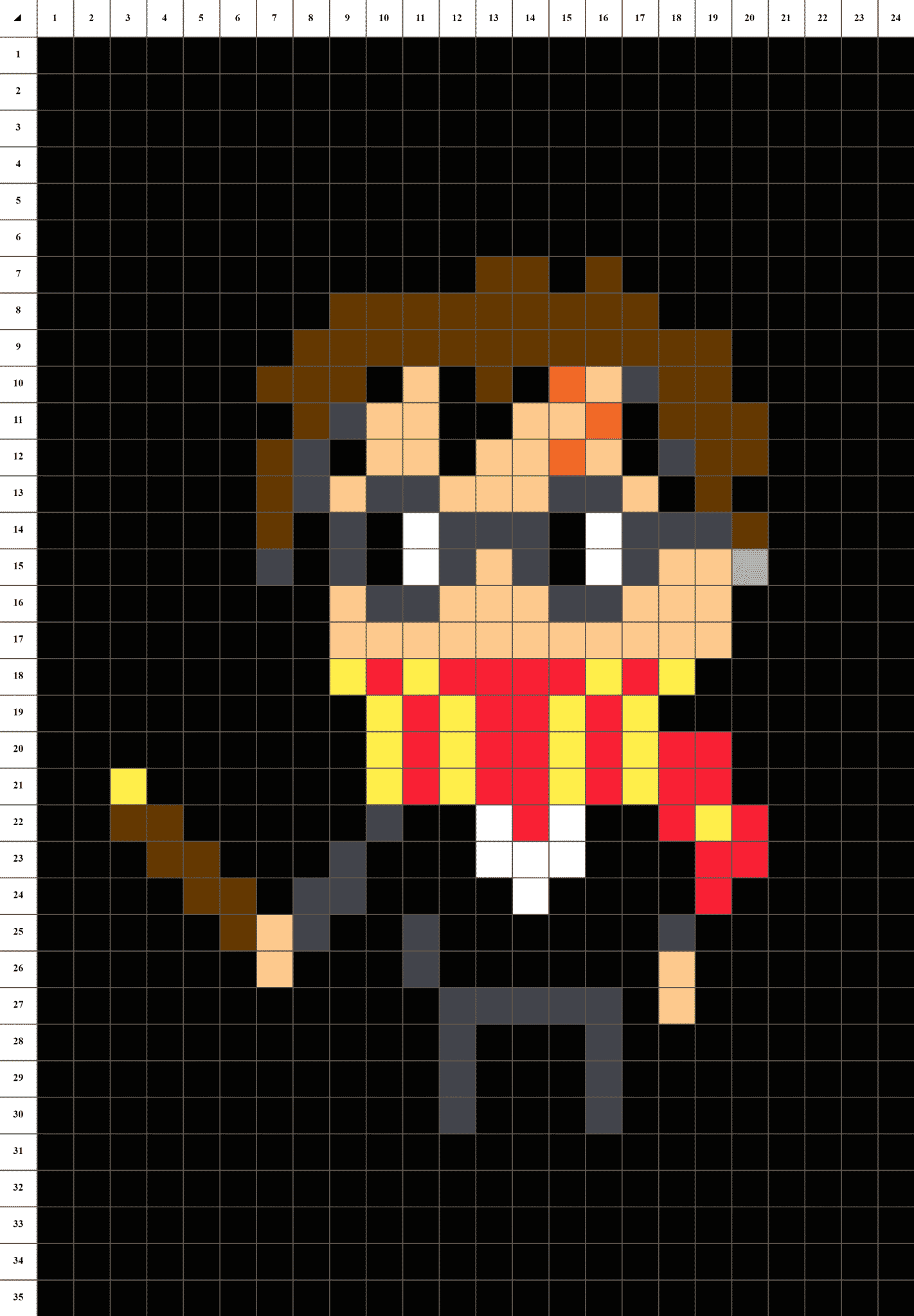 Harry potter pixel art grille fond noir