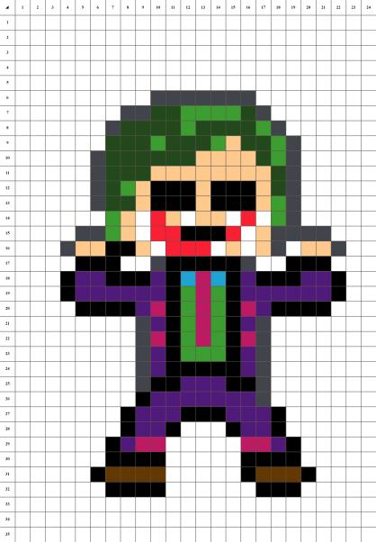 Joker Batman pixel art mosaique grille fond blanc