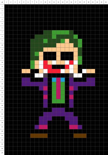Joker Batman pixel art mosaique grille fond noir
