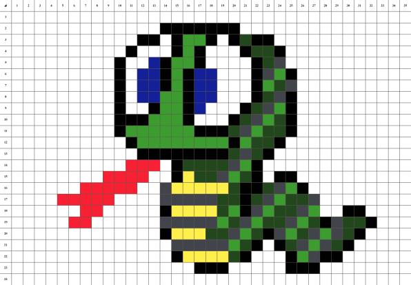 Serpent mosaique pixel art grille fond blanc