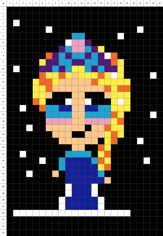 pixel art reine des neiges 2 : +31 Idées et designs pour