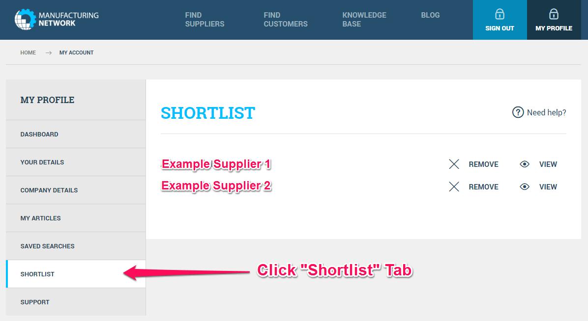 Shortlist Tab