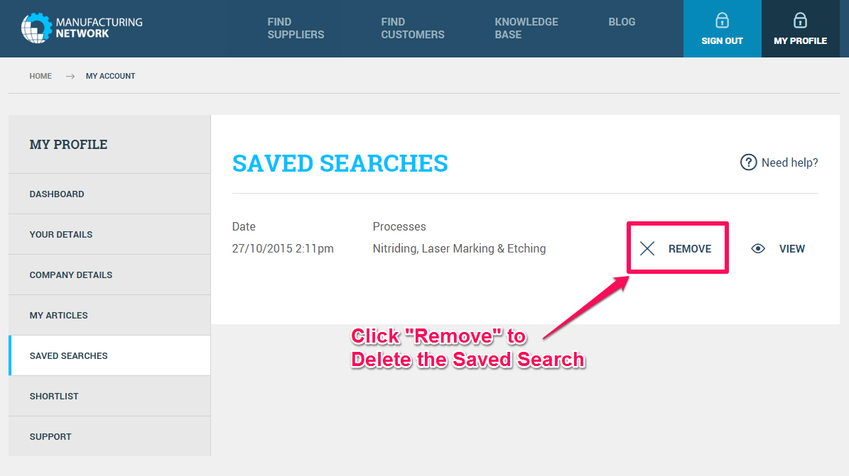 Remove Saved Search