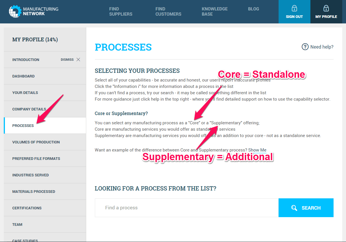 Step 1 on the Processes Tab