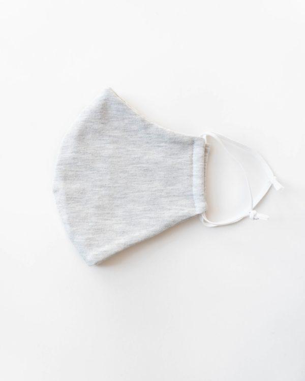 Detailansicht Maske hellgrau Baumwolle