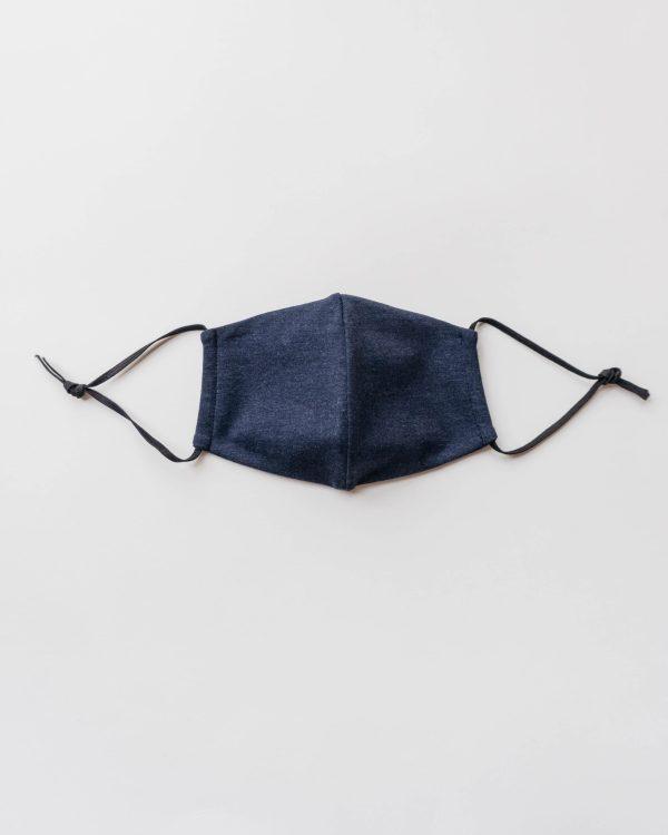 Nachhaltige Baumwollmaske in dunkelblau für Männer, Frauen und Kinder Vorderansicht