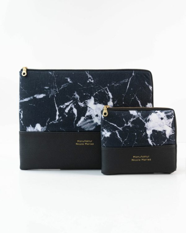 nachhaltige laptophuelle marble dark marmor gold handmade in germany 13 zoll 14 zoll 15 zoll manufaktur nicola marisa 2 Laptophülle MARBLE DARK
