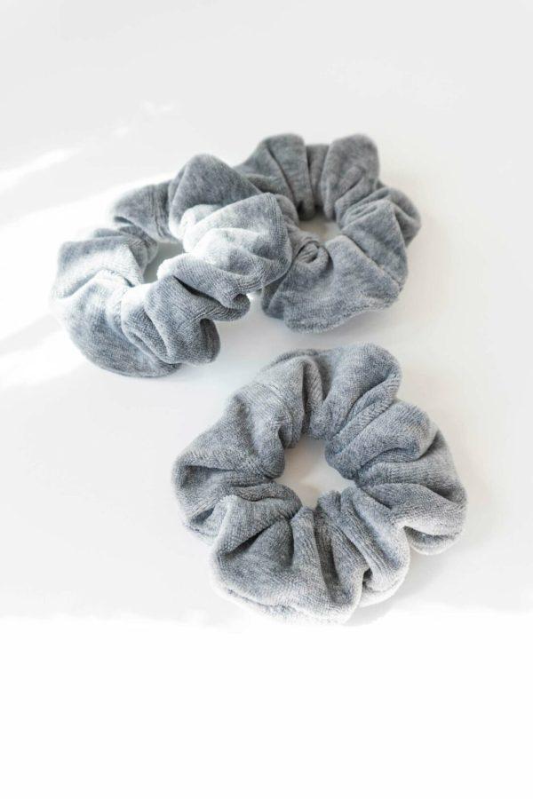 Baumwollscrunchies Haargummis in grau