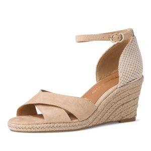 beżowe sandały Tamaris na koturnie 7,5 cm