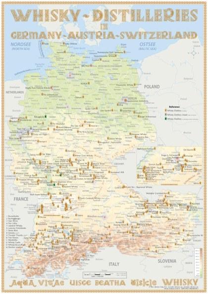 Manufakturen-Blog: die Whisky-Destillen-Karte für Deutschland, Österreich und die Schweiz von Alba Collection (Foto: Alba Collection)