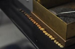 Manufakturen-Blog: Zum Farbvergleich für die Qualitätskontrolle bei de koffiemann gibt es eine lange Reihe an gebrannten Kaffeebohnen (Foto: Wigmar Bressel)
