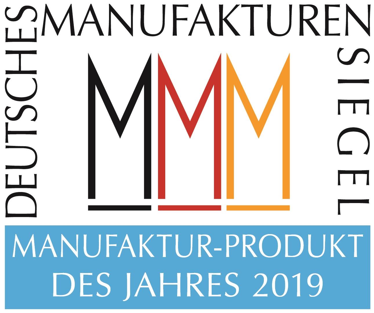 Manufakturen-Blog: das Siegel zum 'Manufaktur-Produkt des Jahres 2019' (Grafik: Peter Sieber, ora et labora)
