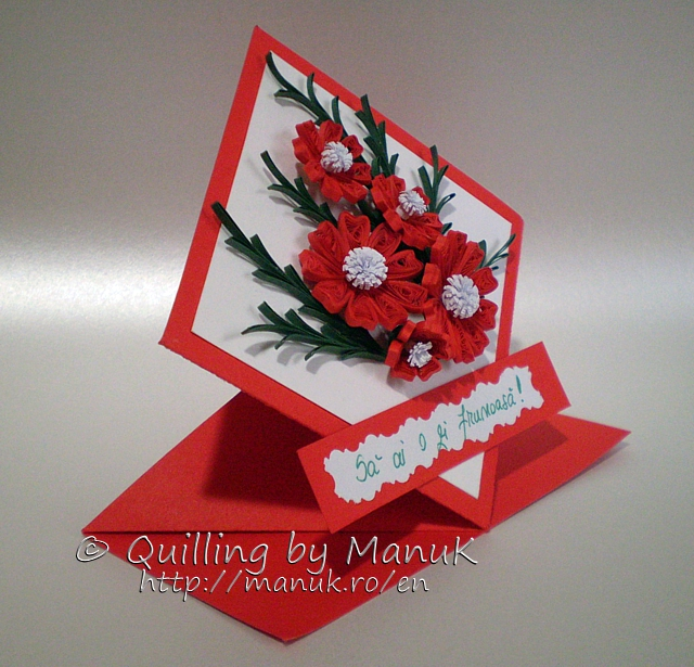Diamond Shaped Greeting Card with Quilled Flowers